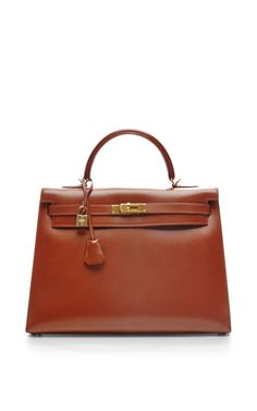 Hermes  35Cm Noisette Box Calf Leather Sellier Kelly by Heritage Auctions Special Collection for Preorder on Moda Operandi