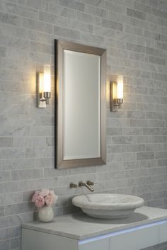 Bathroom, Captivating Modern Powder Room Design Ideas With Grey Exposed Brick Wall And Rectangular Chrome Metal Wall Mirror Also Round White Ceramic Sink On White Stained Wooden Cabinet: Entranching Modern Powder Room Design IDeas For Your Home