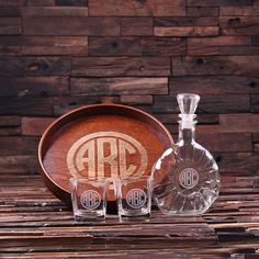 Personalized Bar Tray Set – Grand Tray Set with Decanter & 2 Whiskey Glasses