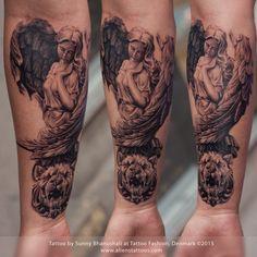 Roman sleeve #tattoo in progress, by #sunnybhanushali at #tattoofashion www.alienstattoos.com