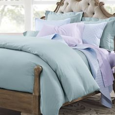 If you've never felt the all-over silky feel of cotton sateen bedding, then you owe it to yourself to try our 400 Thread Count Sateen Duvet Cover. Flat Sheets, Bed Sheets, Linen Bedding, Bedding Sets, Beach Room, Fine Linens, Good Sleep, Sheet Sets
