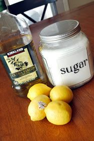 Just Another Day in Paradise: Project Handmade Christmas Presents: Sugar Scrubs So let's make some Lemon Sugar Scrub. What you need: 2 cups of white sugar 1 cup of olive oil 4 TBS of Lemon juice containers Brown Sugar Scrub, Sugar Scrub Diy, Sugar Scrubs, Salt Scrubs, Homemade Beauty, Homemade Gifts, Diy Beauty, Beauty Tips, Beauty Products