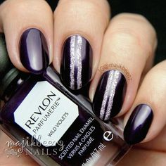 """Nails - Revlon Parfumerie in """"Wild Violets"""" with accent stripes in OPI Liquid Sand """"Baby Please Come Home"""". --- Instagram @majikbeenz"""