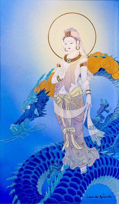 Amaterasu, Buddha Art, Silk Art, Guanyin, Zen Art, Chinese Dragon, Sacred Art, Magical Creatures, Japanese Art