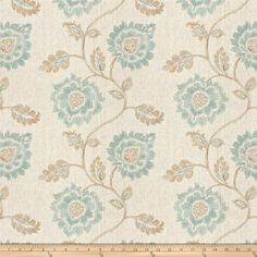 Aqua or Teal color Embroidery Floral pattern Crewels or Embroideries Embroideries type Upholstery Fabric called La Mer by KOVI Fabrics Pottery Barn Teen Bedding, French General, Bed Linen Sets, Linen Bedding, Bed Linens, Bedding Sets, Fabric Wallpaper, Wallpaper Ideas, Toss Pillows