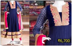Create a smashing impact in this magnificent royal blue anarkali styled with gold zari border and embroidery work yoke matched with pink dupatta.