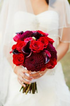 Red - dahlia, calla lily and rose
