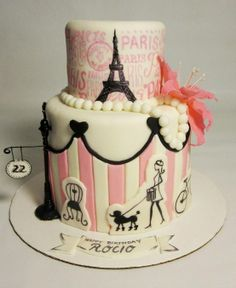 cake idea for a Paris themed party i like the top layer to go with the minnie mouse :)