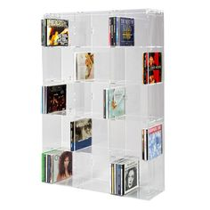Acrylic CD Rack with transparent back-panel for up to 227 CD cases
