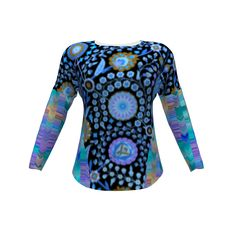 "Hey June Handmade Aurora Tee made with Spoonflower designs on Sprout Patterns. A beautiful mix of blues and designs. The 3d view doesn't accurately reflect the placement (well centered) of the design, so please, click on ""Make a copy"