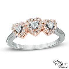 1/4 CT. T.W. Diamond Heart Past Present Future® Ring in 10K White Gold