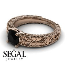 Rose Gold Engagement Ring by Segal Jewelry Unique Solitaire Engagement Ring, Unique Diamond Engagement Rings, Classic Engagement Rings, Beautiful Engagement Rings, Diamond Wedding Rings, Diamond Rings, Black Diamond, Gold Ring, Diamond Jewelry
