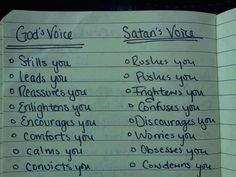 God's voice vs. Satan's voice