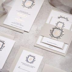 Luxury Wedding Stationery Foil printed Crest and floral design. Gold Foil Design