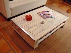 Table basse esprit récup indus fabriquée à partir d'une palette