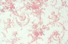 Charlecote Fabric A Toile fabric of cherubs and garlands in pink on off white cotton
