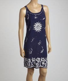 Look what I found on #zulily! Navy Batik Palm Tree Shift Dress - Women #zulilyfinds