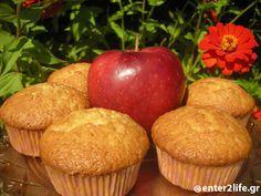 Muffins Μήλου  www.enter2life.gr Angel Cake, Cupcakes, Cake Pops, Cake Recipes, Muffins, Brunch, Cooking, Breakfast, Food