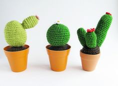 {Crochet Cacti Pattern} Materials Size 3.5 mm and 3mm hook Yarn needle Yarn marker (optional) Stuffing Flower pots in small size ...