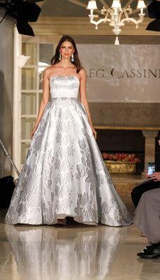 2a0e35a03d38 Oleg Cassini spring summer 2018 wedding dress silver brocade flower strapless  ball gown beaded sash