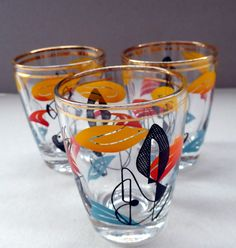 This is a really lovely and unusual set of vintage 1950s tumblers or drinking…