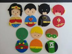Super hero marvel justice league fondant by DsCustomToppers Marvel Cupcakes, Avenger Cupcakes, Avenger Cake, Fondant Cupcakes, Fondant Toppers, Cupcake Cakes, Fondant Tips, Custom Cupcakes, Custom Cookies