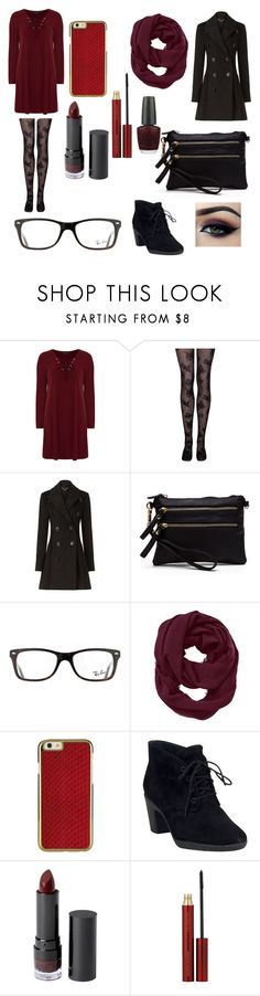 """Maroon Lover #3"" by xxmonnyxx on Polyvore featuring Dorothy Perkins, Burberry, Ray-Ban, Athleta, Clarks, Monki, Kevyn Aucoin, OPI and Ardell"