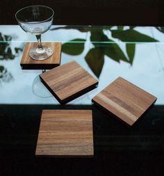 Joint Teak Wood Square Coaster Set