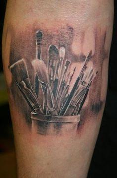 New makeup artist tattoo design beautiful Ideas Makeup Artist Tattoo, Makeup Tattoos, Body Art Tattoos, Great Tattoos, Beautiful Tattoos, New Tattoos, Tatoos, Feather Tattoos, Paintbrush Tattoo