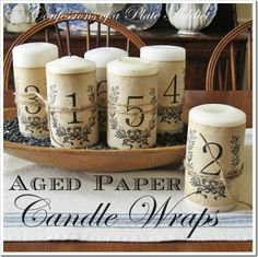 DIY French Inspired Candle Wraps!  See More and Get the tutorial at thefrenchinspiredroom.com