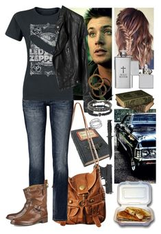 A fashion look from October 2017 featuring rock tees, pleather jacket and destroyed jeans. Browse and shop related looks. Supernatural Inspired Outfits, Supernatural Fashion, Supernatural Cosplay, Supernatural Dean, Basic Outfits, Teen Fashion Outfits, Cute Casual Outfits, Pretty Outfits, Girl Outfits