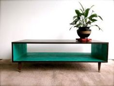Handmade Coffee Table Mid Century Modern TEAL (or custom color) and Espresso Brown Coffee Table MCM Furniture coffee table smoked glass Gone. Mcm Furniture, Handmade Furniture, Painted Furniture, Furniture Design, Furniture Ideas, Rustic Furniture, Brown Furniture, Business Furniture, Outdoor Furniture