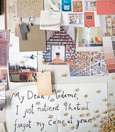 How to create a giant mood board: Upholster an entire wall in fabric, then pin photos, notes, paint chips, and more.    #houseoftheyear #decorating #designideas