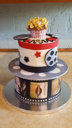 Movie themed cake for 13 yr old girl. Pictures printed on sugar sheets applied around bottom tier. Candy Birthday Cakes, Birthday Cakes For Teens, 13th Birthday Parties, Girl Birthday, Birthday Stuff, 60th Birthday, Birthday Ideas, Cake Mix Banana Bread, Brithday Cake