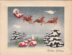 Vintage Greeting Card Christmas Santa Claus Sleigh Sky Reindeer V338