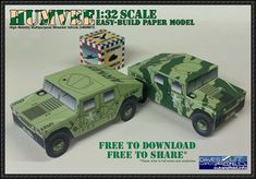 Simple Humvee Free Vehicle Paper Model Download - http://www.papercraftsquare.com/simple-humvee-free-vehicle-paper-model-download.html