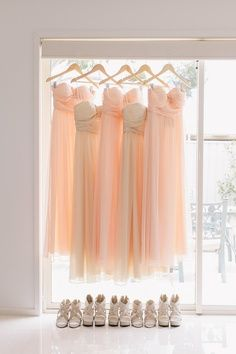 light coral and beige bridesmaid dresses
