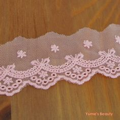 1 Yard Embroidered Net Lace Trim Ribbon Bow Eyelet 4 Colors DIY | eBay