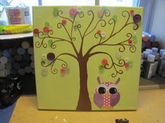 ON SALE Hand painted tree with buttons and little owl canvas on Etsy, $30.00