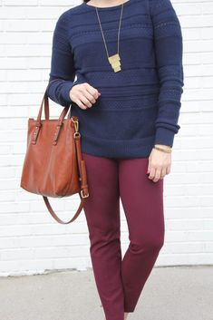 4850dcc62c5 Color Mixing Work Outfit. Burgundy Pants OutfitCute Work OutfitsNew Outfits Casual OutfitsMaroon JeansBrown SweaterWhat ...