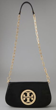 Black Tory Burch Clutch with Chain