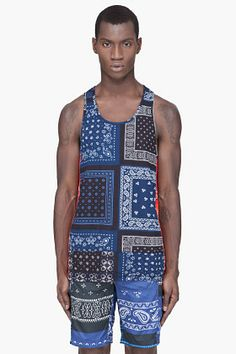 ADIDAS ORIGINALS BY O.C. Navy Paisley Tank Top