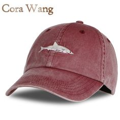 Hot Item $5.99, Buy Cora Wang 100% cotton Washed casquette baseball caps Men hats Shark Embroidery Dad Hat for Women gorras planas snapback bosco