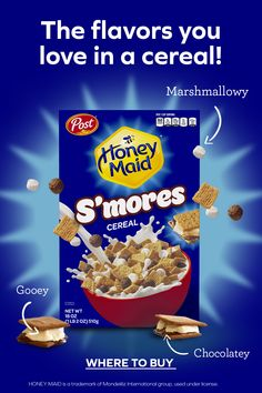 Enjoy Post Cereal's Honey Maid® S'mores cereal for breakfast every day! The flavors you love in every mouthful in every bowl. Tap the Pin to get your pack. Football Cupcake Cakes, Parmesan, Holiday Pies, Cream Scones, Wraps, Cheesecake Recipes, Raspberry Cheesecake, Breakfast Cookies, Diet Breakfast