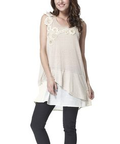 Another great find on #zulily! Khaki Crochet Blossom Tunic by Simply Couture #zulilyfinds