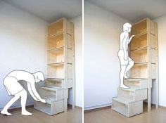 Great Idea for steps to a over cab bed in an RV or a loft in a tiny house = Shelves That Turn Into Stairs