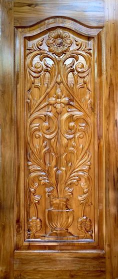 Wooden Wall Art Panels, Wooden Front Door Design, Double Door Design, Wooden Front Doors, House Front Design, Wood Entry Doors, Wood Exterior Door, Single Main Door Designs, Pooja Room Door Design
