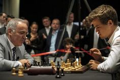 Here, Garry and Calrsen play a friendly game. Carlsen has the highest ever FIDE Rating.