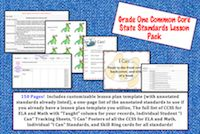 This lesson pack contains everything you will need to teach, track, and display the Common Core State Standards for First Grade!   Over 150 pages!  $4.95
