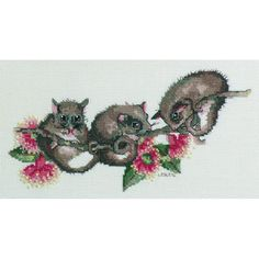 Possums Cross Stitch Kit designed by Lesley Suzanne Davies for DMC – Craft Boutique